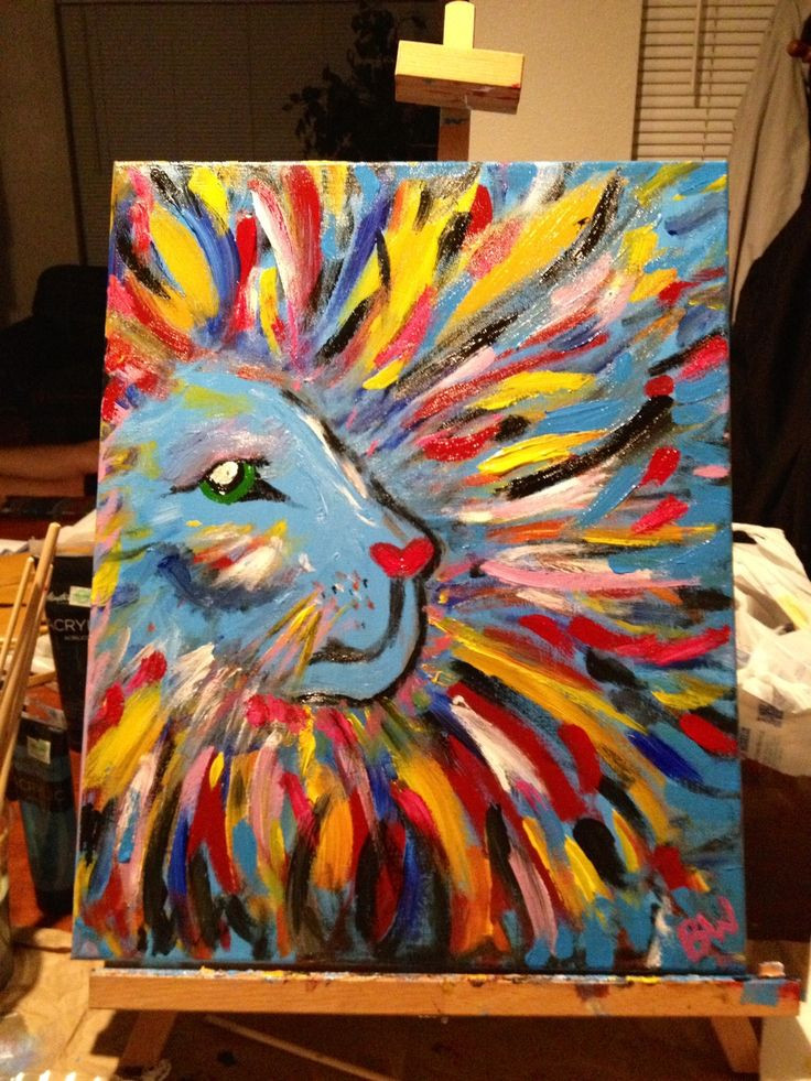 Best ideas about Art With Kids . Save or Pin My Big Girly Lion DIY canvas painting Now.
