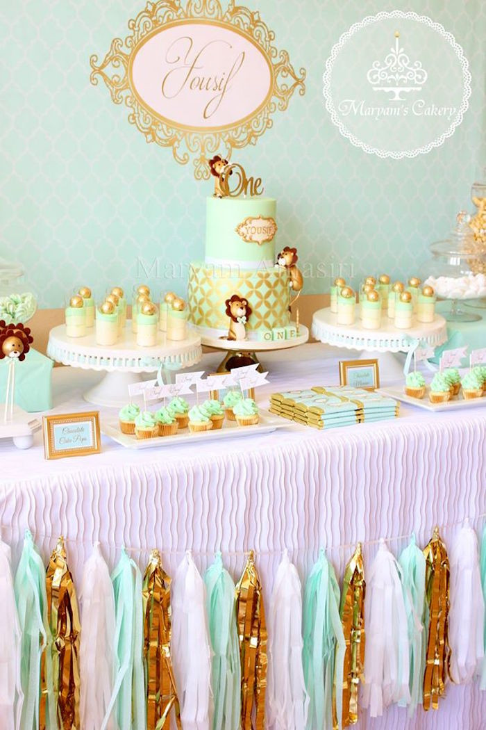 Best ideas about Babies Birthday Decorations . Save or Pin Kara s Party Ideas Elegant Baby Lion Birthday Party Now.