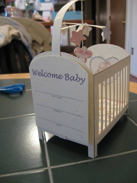 """Best ideas about Baby Shower Gift Card Holder Ideas . Save or Pin DIY """"crib"""" party favor container for baby shower Now."""