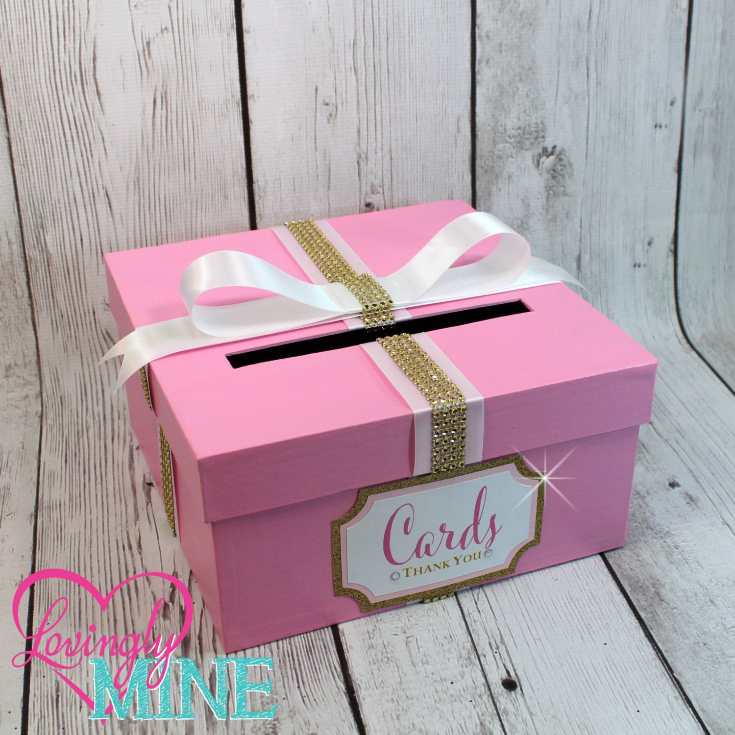 Best ideas about Baby Shower Gift Card Holder Ideas . Save or Pin Card Holder Box with Sign in Baby Pink Gold & White Gift Now.