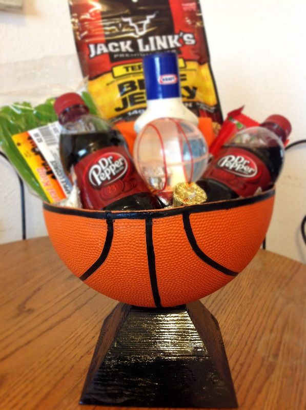 "Best ideas about Basketball Gift Ideas . Save or Pin Basketball ""basket"" I made for my boyfriend with stuff he Now."