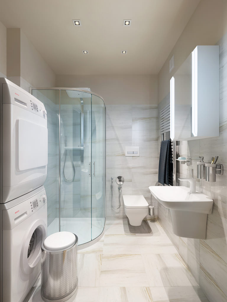 Best ideas about Bathroom Laundry Room . Save or Pin Three Apartments with Extra Special Lighting Schemes Now.