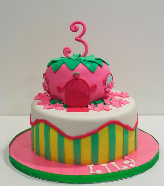 Best ideas about Birthday Cake For 3 Years Old Girl . Save or Pin 2 tier strawberry house cake for 3 year old girl JPG Now.