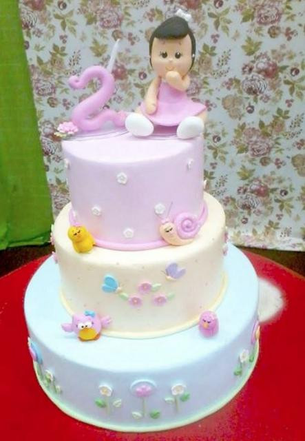 Best ideas about Birthday Cake For 3 Years Old Girl . Save or Pin 3 Tier Pink and Lavender Birthday Cake for 2 year old Girl JPG Now.