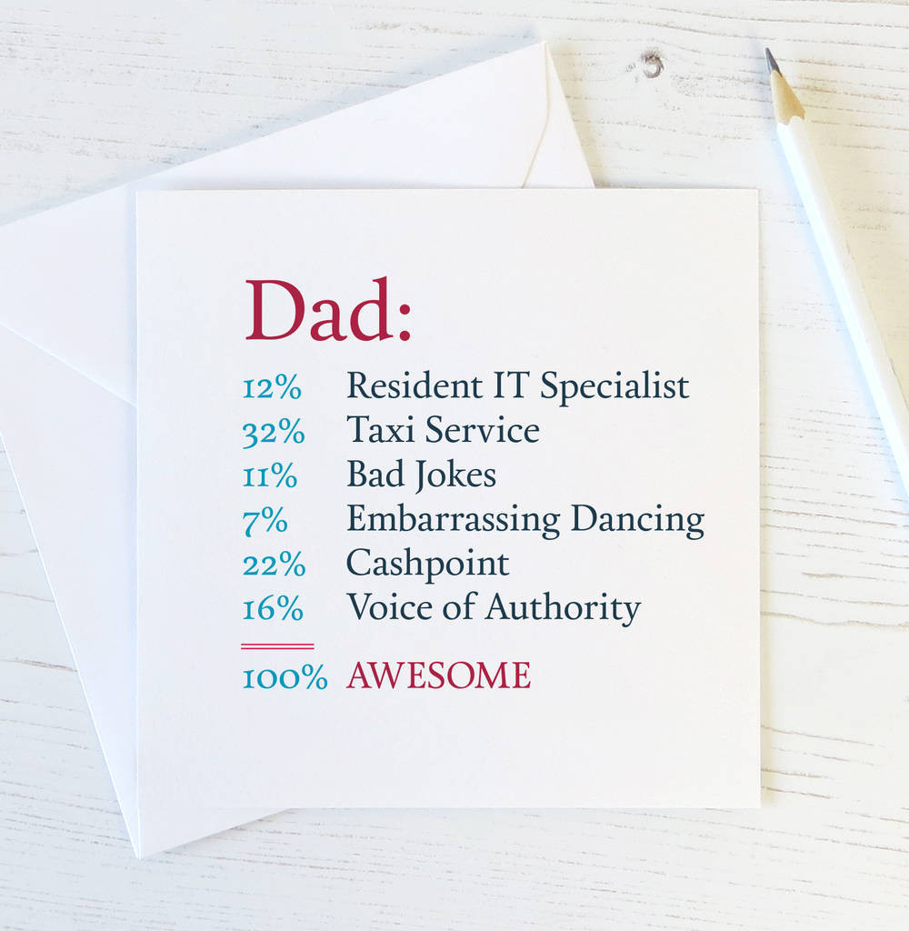 Best ideas about Birthday Card Dad . Save or Pin funny dad card awesome dad by wink design Now.