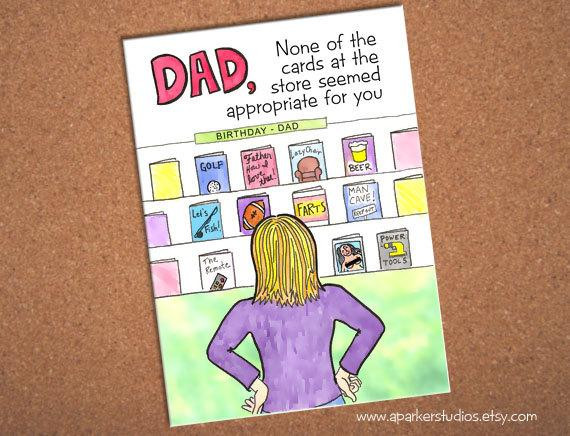 Best ideas about Birthday Card Dad . Save or Pin Dad Birthday Card funny card for dad hand drawn card for Now.