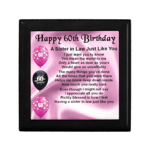 Best ideas about Birthday Gift Ideas For Sister In Law . Save or Pin Sister in Law Poem 60th Birthday Gift Boxes Now.