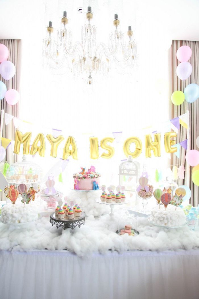 Best ideas about Birthday Party Theme . Save or Pin Dessert Table from a Hot Air Balloon Unicorn Birthday Now.