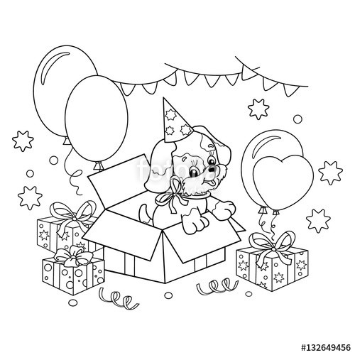 """Best ideas about Birthday Puppy Coloring Pages For Girls . Save or Pin """"Coloring Page Outline cute puppy Cartoon dog with bow Now."""