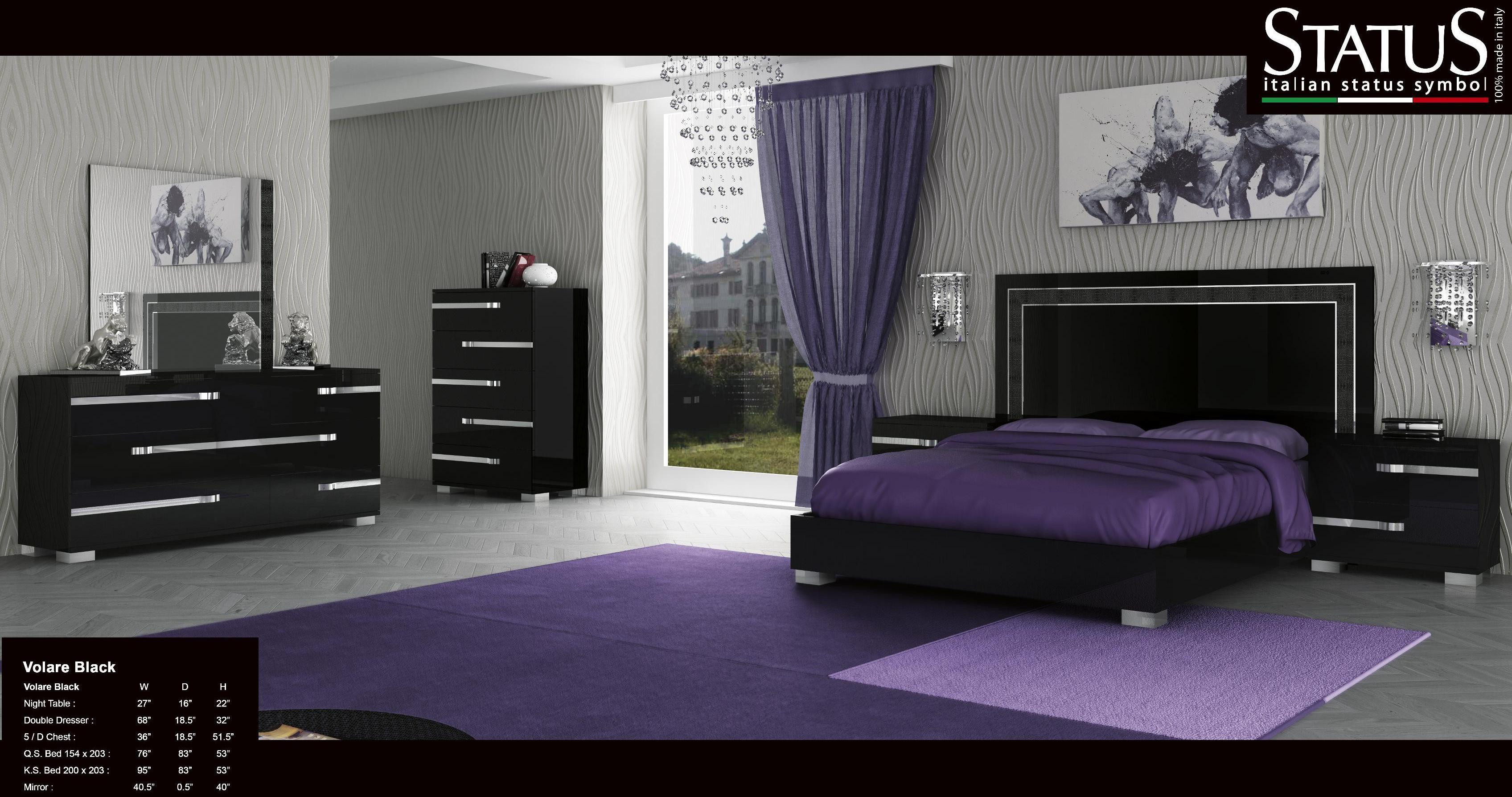 Best ideas about Black Bedroom Set . Save or Pin VOLARE KING SIZE MODERN BLACK BEDROOM SET 5PC MADE IN Now.