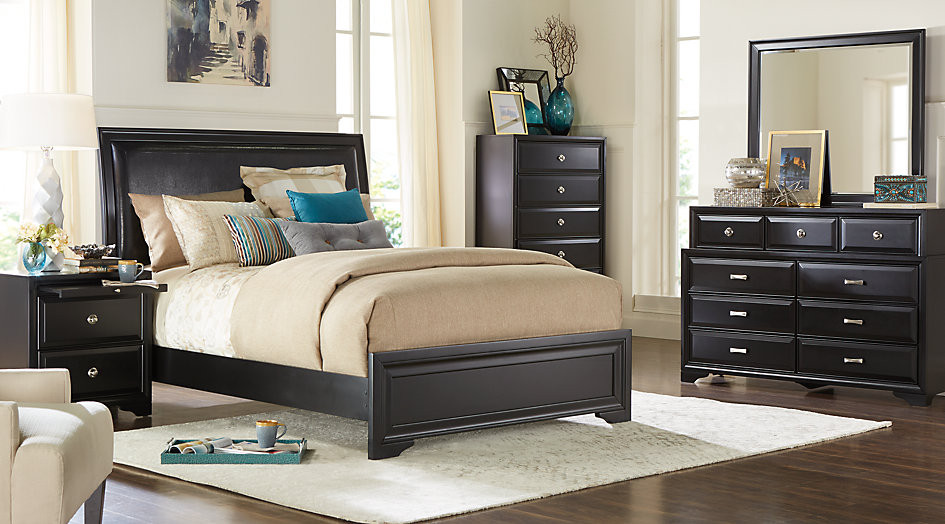 Best ideas about Black Bedroom Set . Save or Pin Belcourt Black 5 Pc King Upholstered Bedroom King Now.