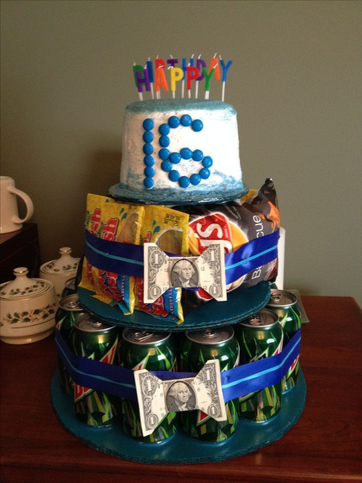 Best ideas about Boy Birthday Gifts Ideas . Save or Pin Sweet 16 birthday t for a boy Mountain Dew soda chips Now.
