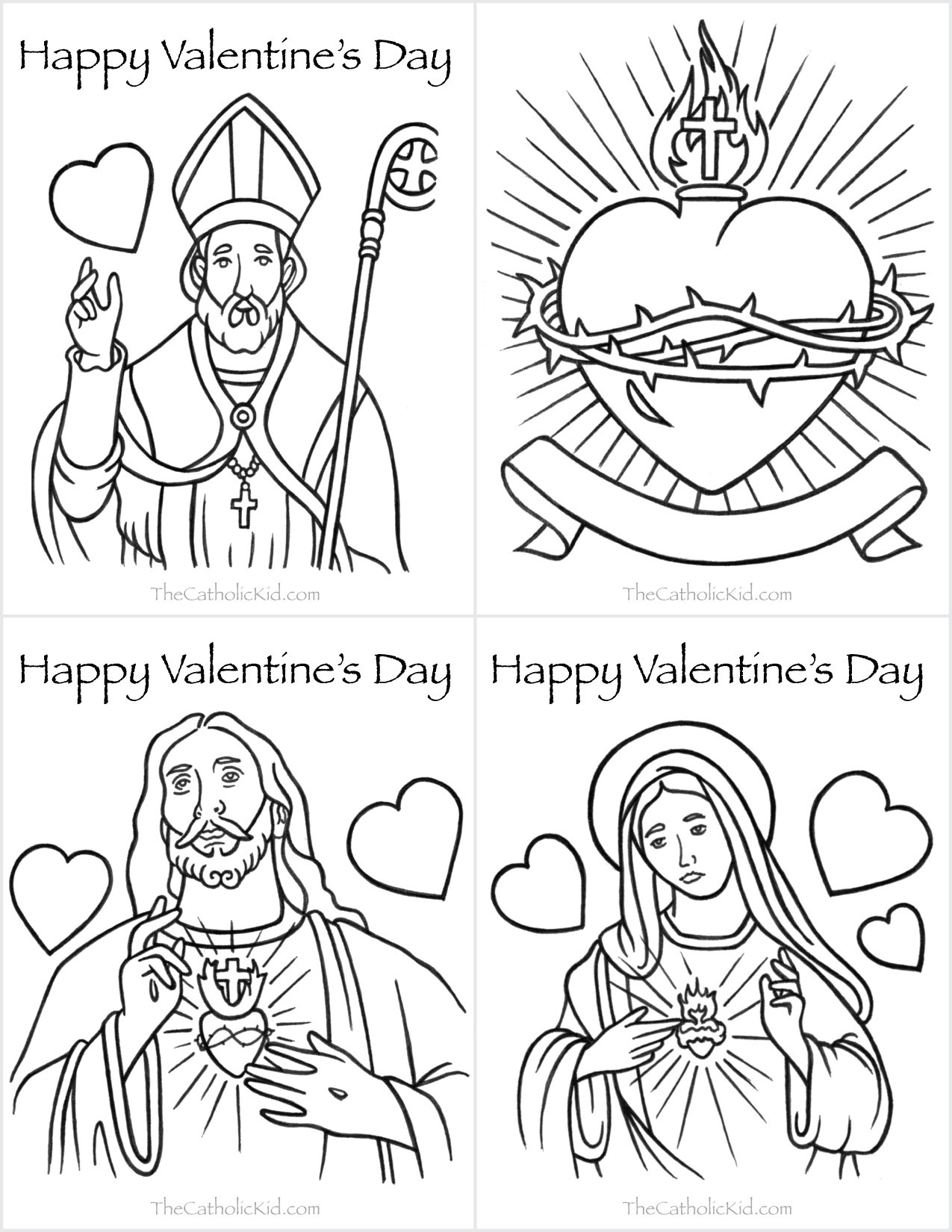 Best ideas about Catholic Christmas Coloring Pages For Kids . Save or Pin Catholic Valentine s Day Cards to Color TheCatholicKid Now.