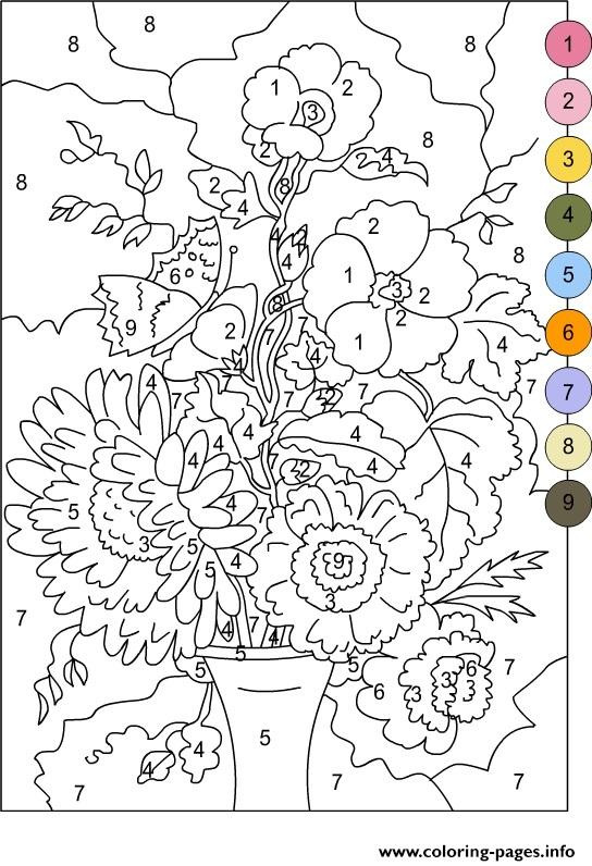 Best ideas about Color By Number Adult Coloring Books . Save or Pin Color By Number For Adults Flowers Coloring Pages Printable Now.