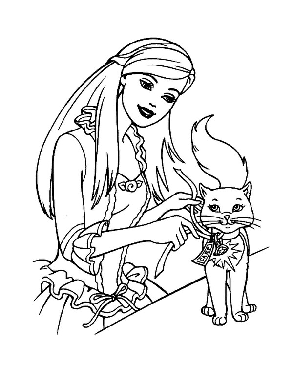 Best ideas about Coloring Pages For Girls Cat . Save or Pin barbie princess with cat coloring pages for girls Now.