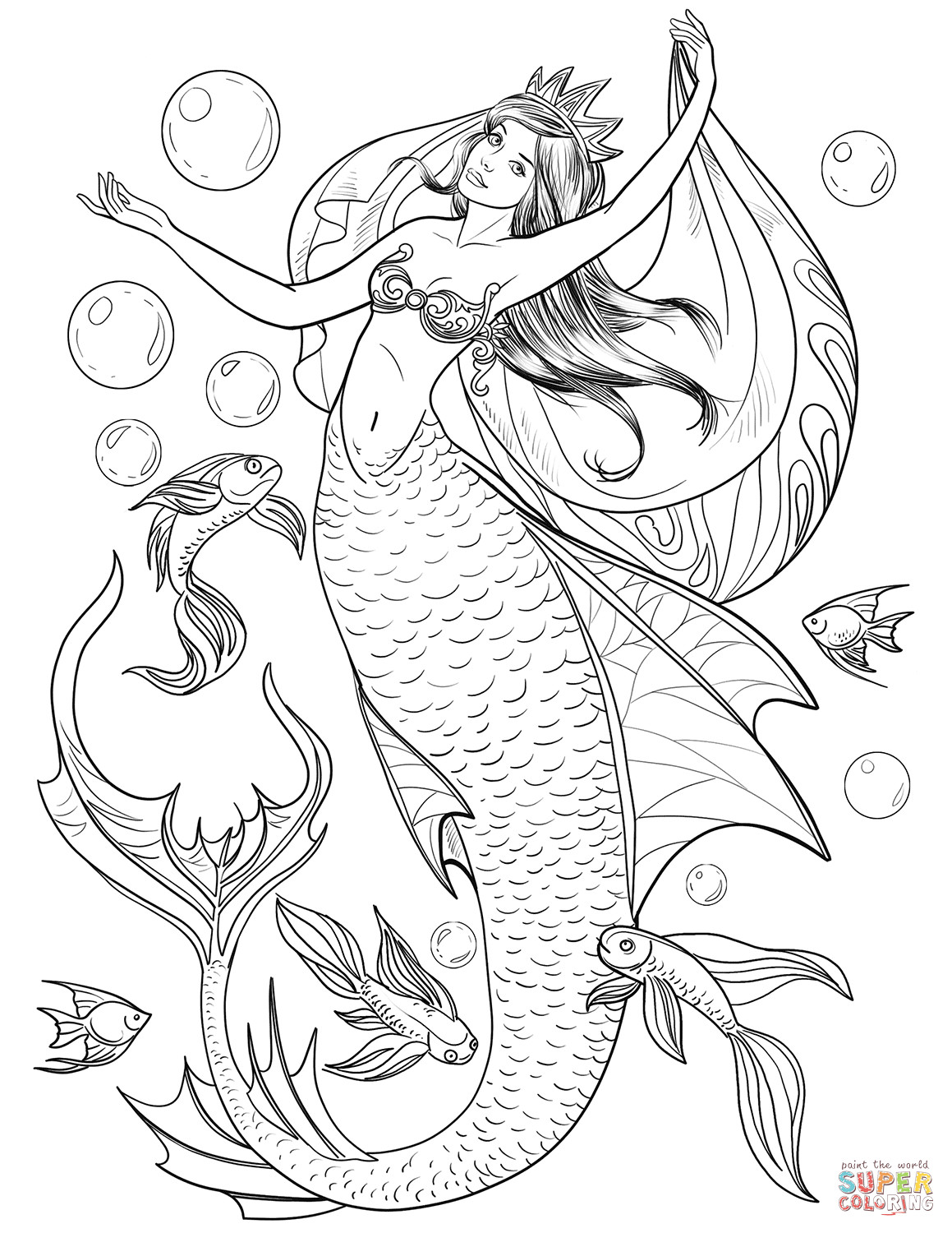 Best ideas about Coloring Pages For Girls Mermaids . Save or Pin Mermaid coloring page Now.