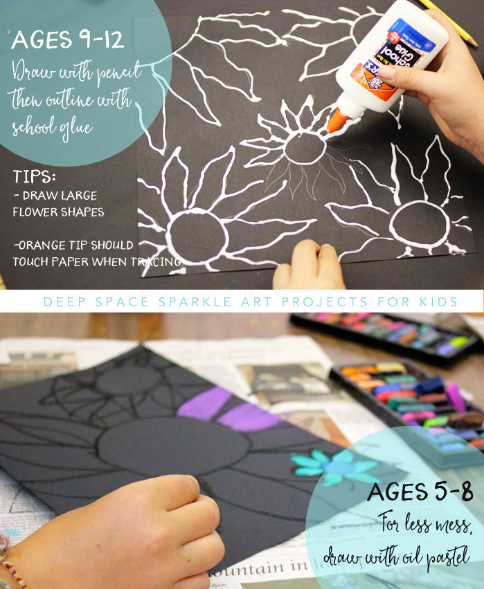 Best ideas about Crafts For Kids Ages 10 12 . Save or Pin Chalk Flowers Art Project 2 Ways Deep Space Sparkle Now.