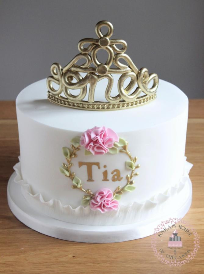 Best ideas about Crown Birthday Cake . Save or Pin 1st birthday cake with fondant no 1 tiara cake by Sara s Now.