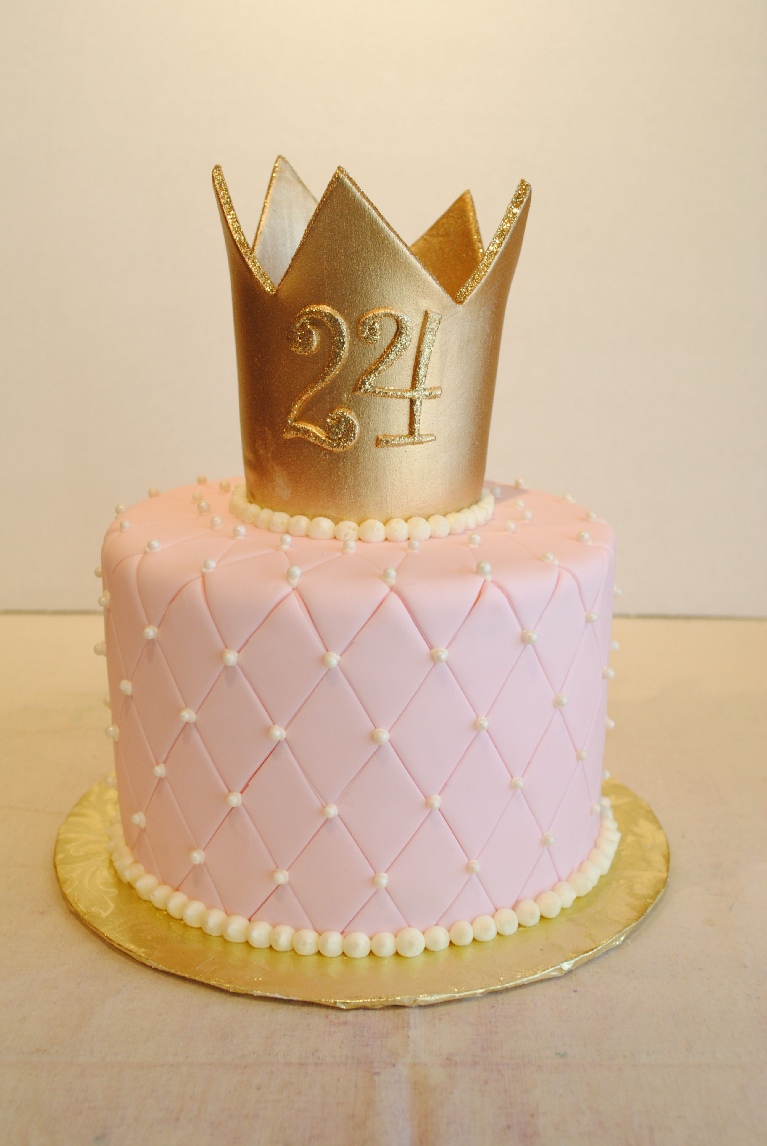 Best ideas about Crown Birthday Cake . Save or Pin Princess cake Fondant quilted pin cushion with gold crown Now.