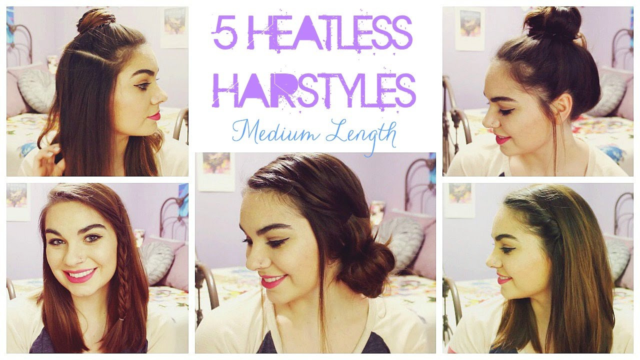 Best ideas about Cute Heatless Hairstyles . Save or Pin 5 Heatless Hairstyles for Summer Medium Length Hair Now.