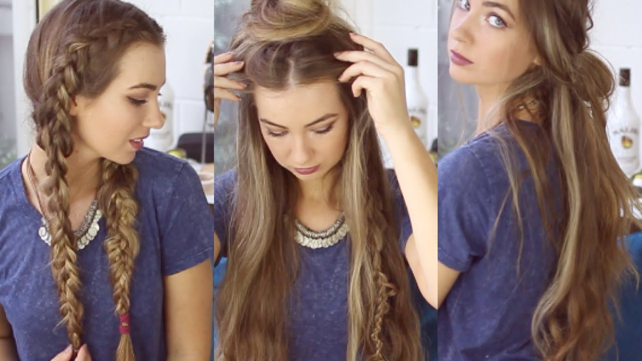 Best ideas about Cute Heatless Hairstyles . Save or Pin 3 QUICK AND EASY BOHO HAIRSTYLES Cute Heatless Now.