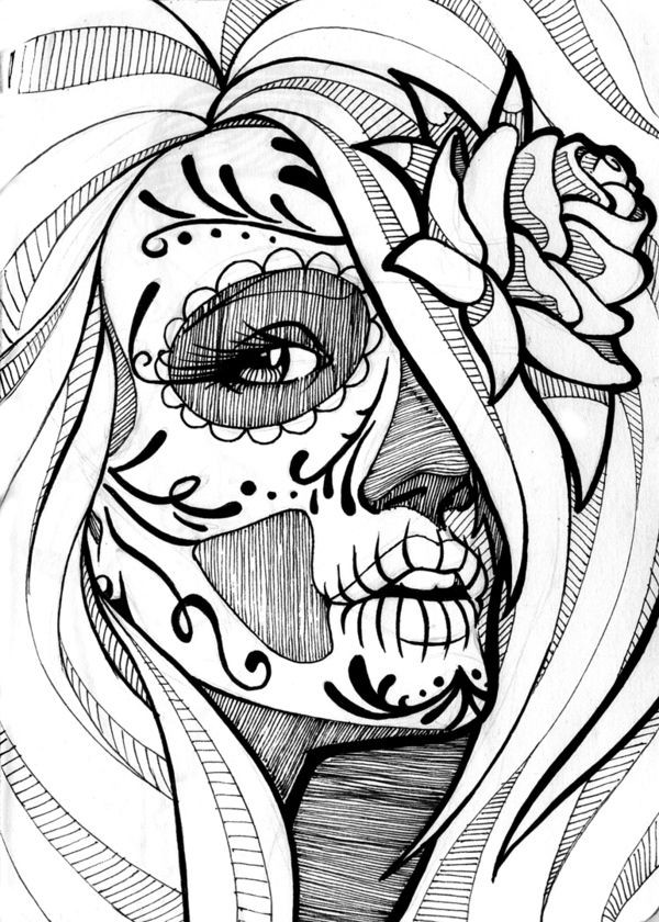 Best ideas about Day Of The Dead Sugar Skull Girls Coloring Pages For Teens . Save or Pin Best 25 Sugar skull girl ideas on Pinterest Now.