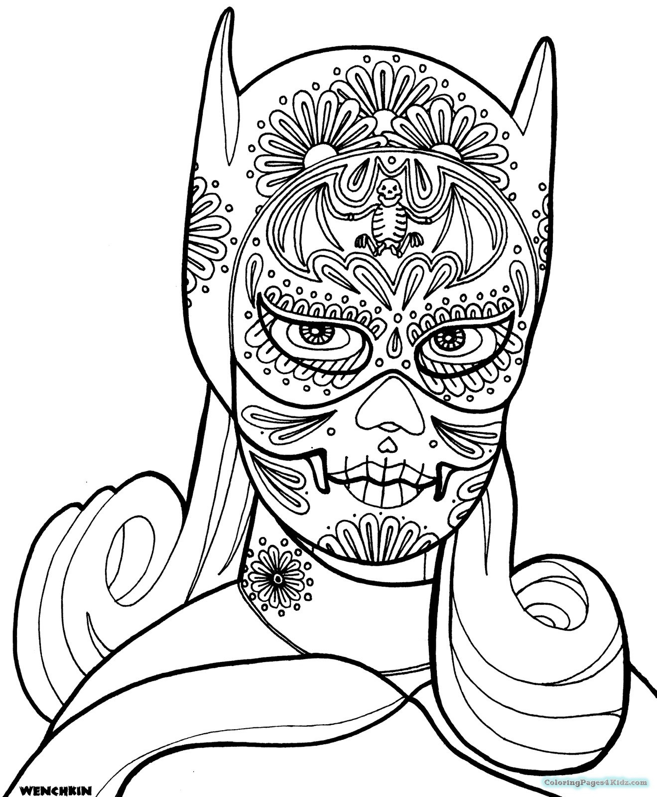 Best ideas about Day Of The Dead Sugar Skull Girls Coloring Pages For Teens . Save or Pin Sugar Skull Girl Coloring Pages For Adults Now.