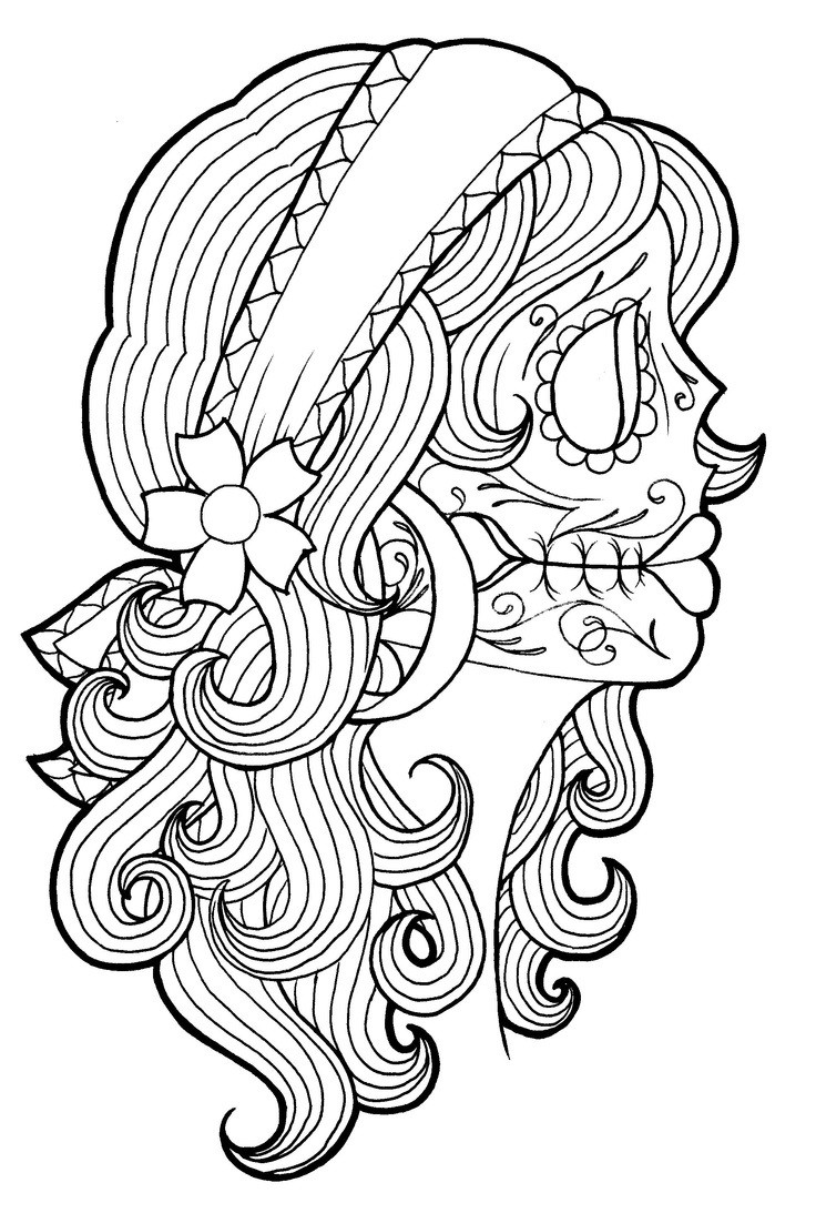 Best ideas about Day Of The Dead Sugar Skull Girls Coloring Pages For Teens . Save or Pin catrinas para colorear 18 • Catrinas10 Now.