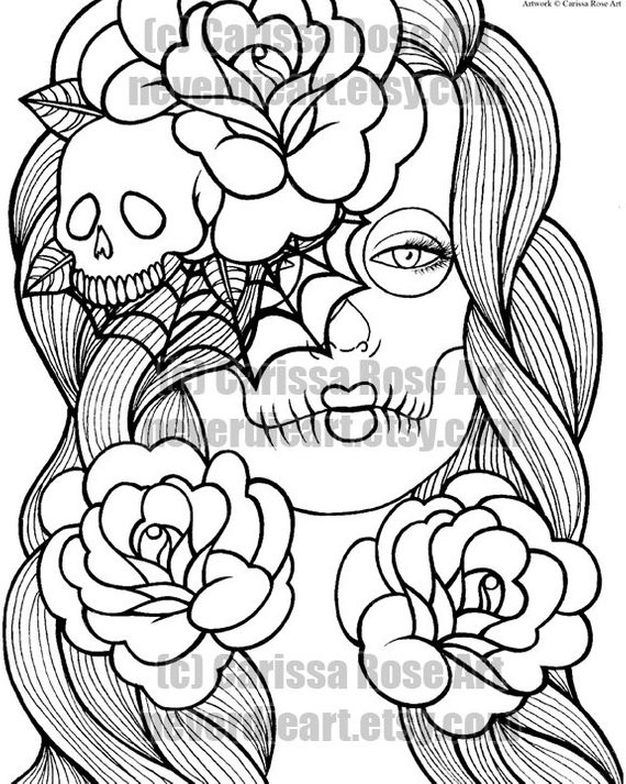 Best ideas about Day Of The Dead Sugar Skull Girls Coloring Pages For Teens . Save or Pin Digital Download Print Your Own Coloring Book Outline Page Now.