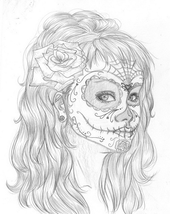Best ideas about Day Of The Dead Sugar Skull Girls Coloring Pages For Teens . Save or Pin Day of the Dead Coloring and Craft Activities family Now.