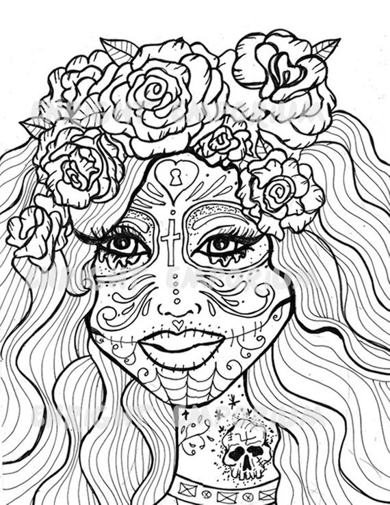 Best ideas about Day Of The Dead Sugar Skull Girls Coloring Pages For Teens . Save or Pin Items similar to Sugar Skull Girl Day The Dead Coloring Now.