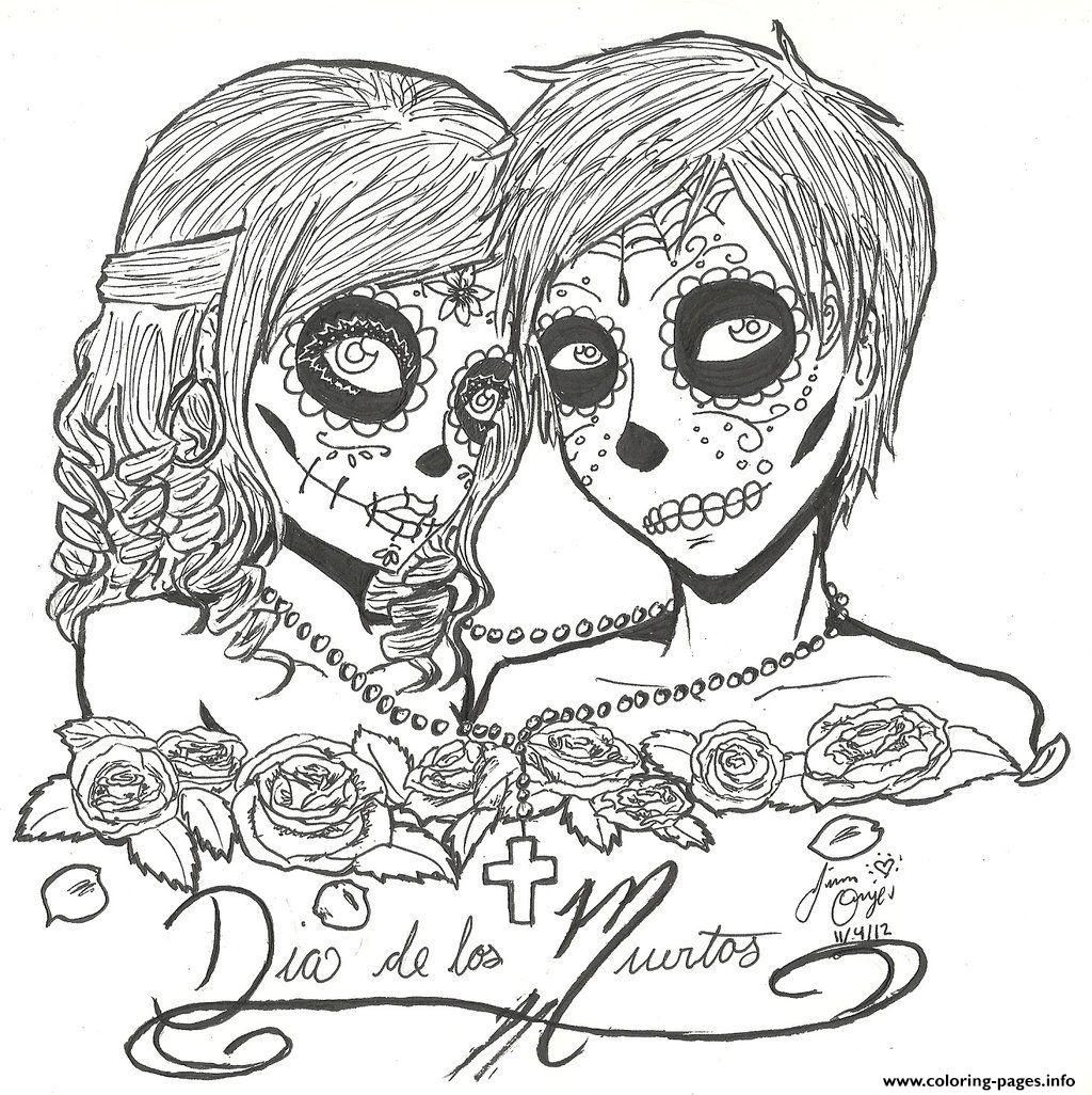 Best ideas about Day Of The Dead Sugar Skull Girls Coloring Pages For Teens . Save or Pin Print skull sugar couples love coloring pages Now.