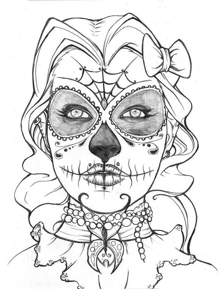 Best ideas about Day Of The Dead Sugar Skull Girls Coloring Pages For Teens . Save or Pin Sugar Skull Coloring Page Coloring Home Now.