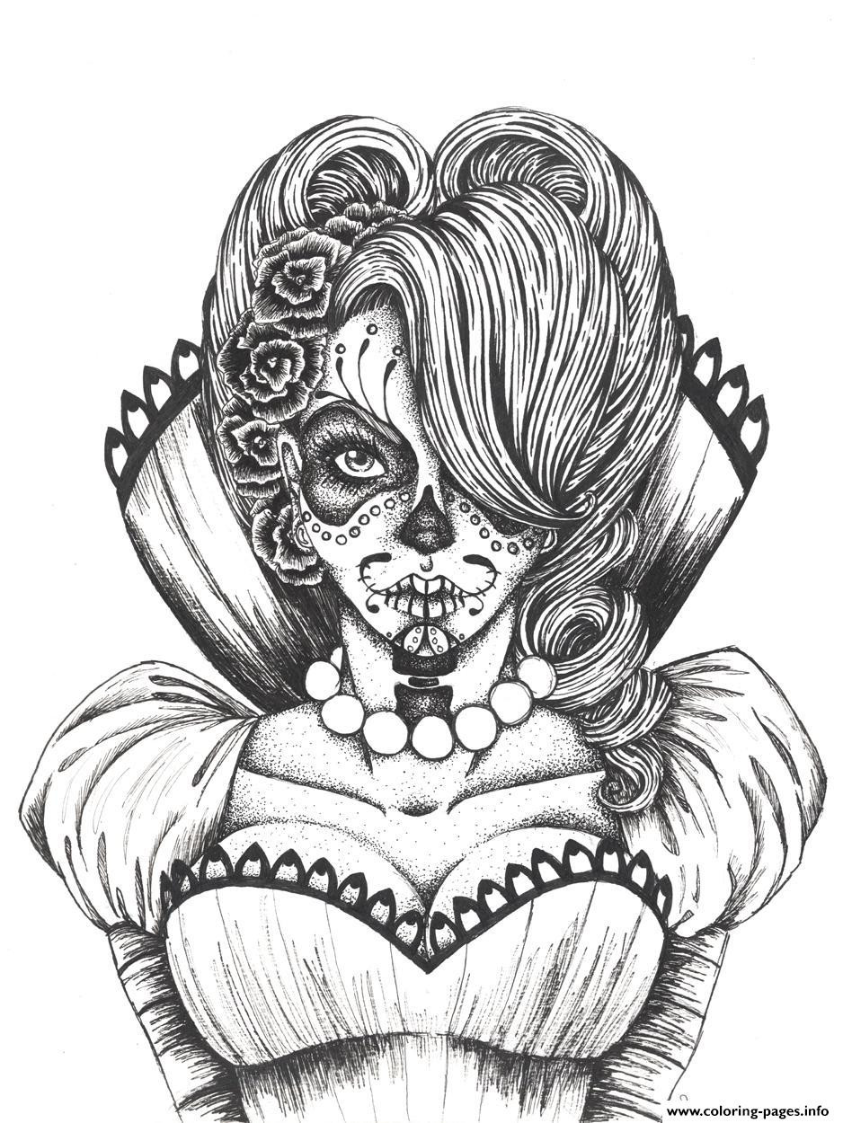 Best ideas about Day Of The Dead Sugar Skull Girls Coloring Pages For Teens . Save or Pin y Sugar Skull Flowers Coloring Pages Printable Now.