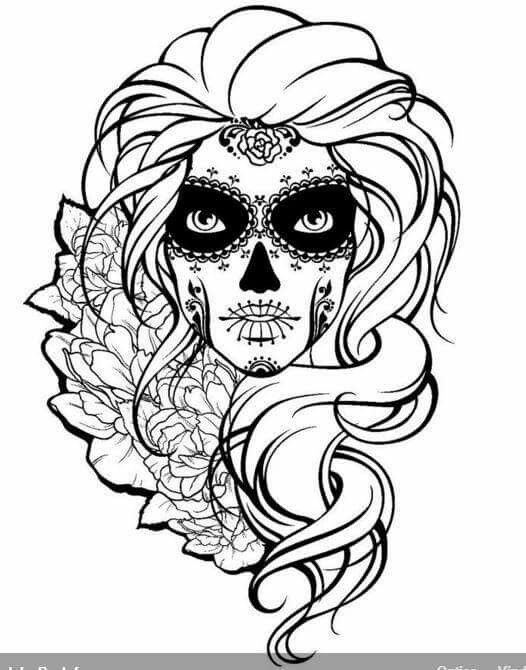 Best ideas about Day Of The Dead Sugar Skull Girls Coloring Pages For Teens . Save or Pin Drawn sugar skull scull Pencil and in color drawn sugar Now.