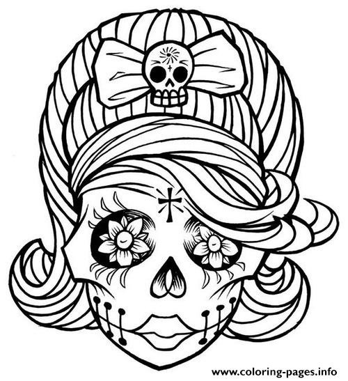 Best ideas about Day Of The Dead Sugar Skull Girls Coloring Pages For Teens . Save or Pin Sugar Skull Girl Coloring Pages Printable Now.
