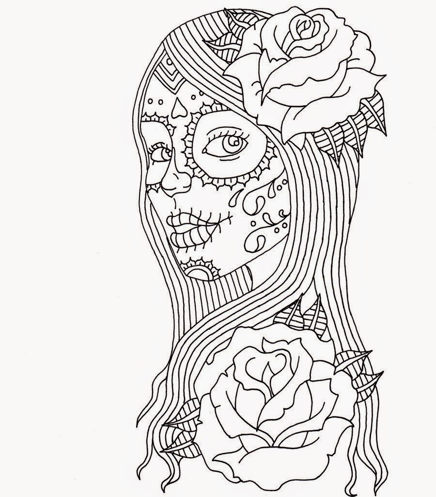 Best ideas about Day Of The Dead Sugar Skull Girls Coloring Pages For Teens . Save or Pin Free Printable Day of the Dead Coloring Pages Best Now.
