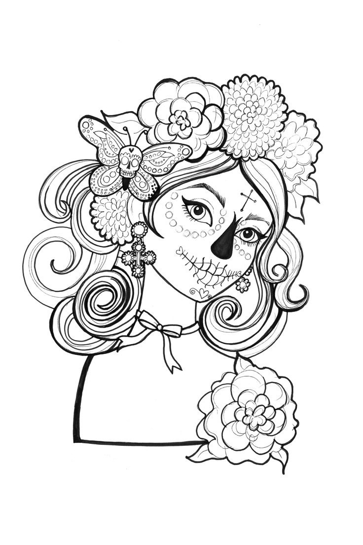 Best ideas about Day Of The Dead Sugar Skull Girls Coloring Pages For Teens . Save or Pin catrinas para colorear 19 • Catrinas10 Now.
