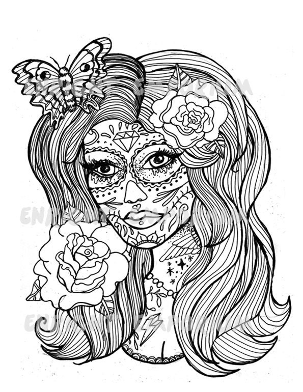 Best ideas about Day Of The Dead Sugar Skull Girls Coloring Pages For Teens . Save or Pin 36 Girl Skull Coloring Pages Girl Sugar Skull Coloring Now.