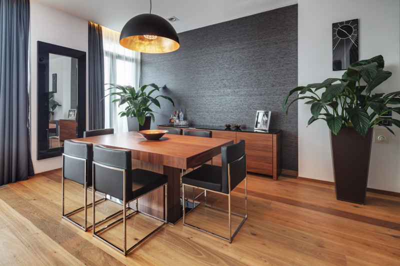 Best ideas about Dining Room Accent Wall . Save or Pin 20 Beautiful Dining Rooms with Black Accent Walls Now.