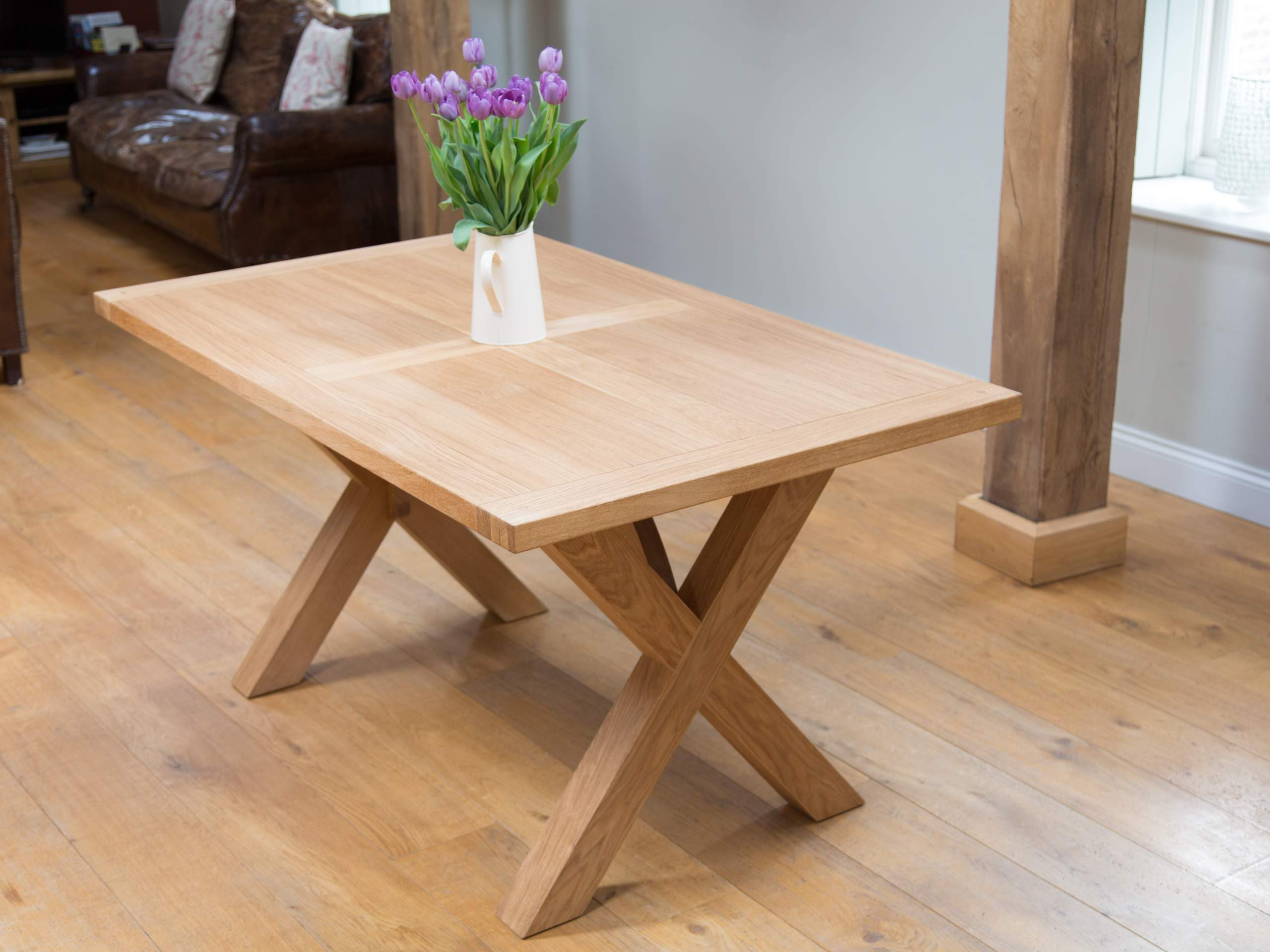 Best ideas about Dining Room Table Legs . Save or Pin rectangle brown wooden table with crossed legs placed on Now.
