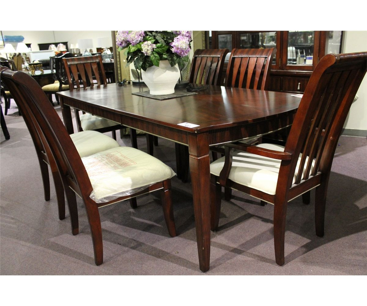Best ideas about Dining Room Table With Leaf . Save or Pin DARK WOOD INLAYED FORMAL DINING ROOM TABLE WITH LEAF & 6 Now.