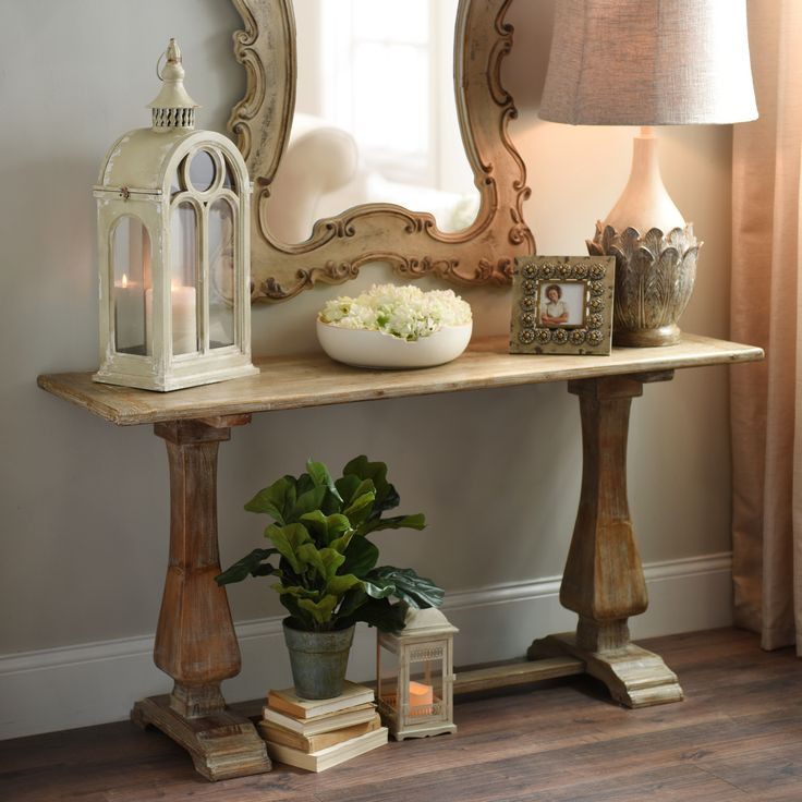 Best ideas about Distressed Entryway Table . Save or Pin Distressed Natural Pedestal Console Table Now.