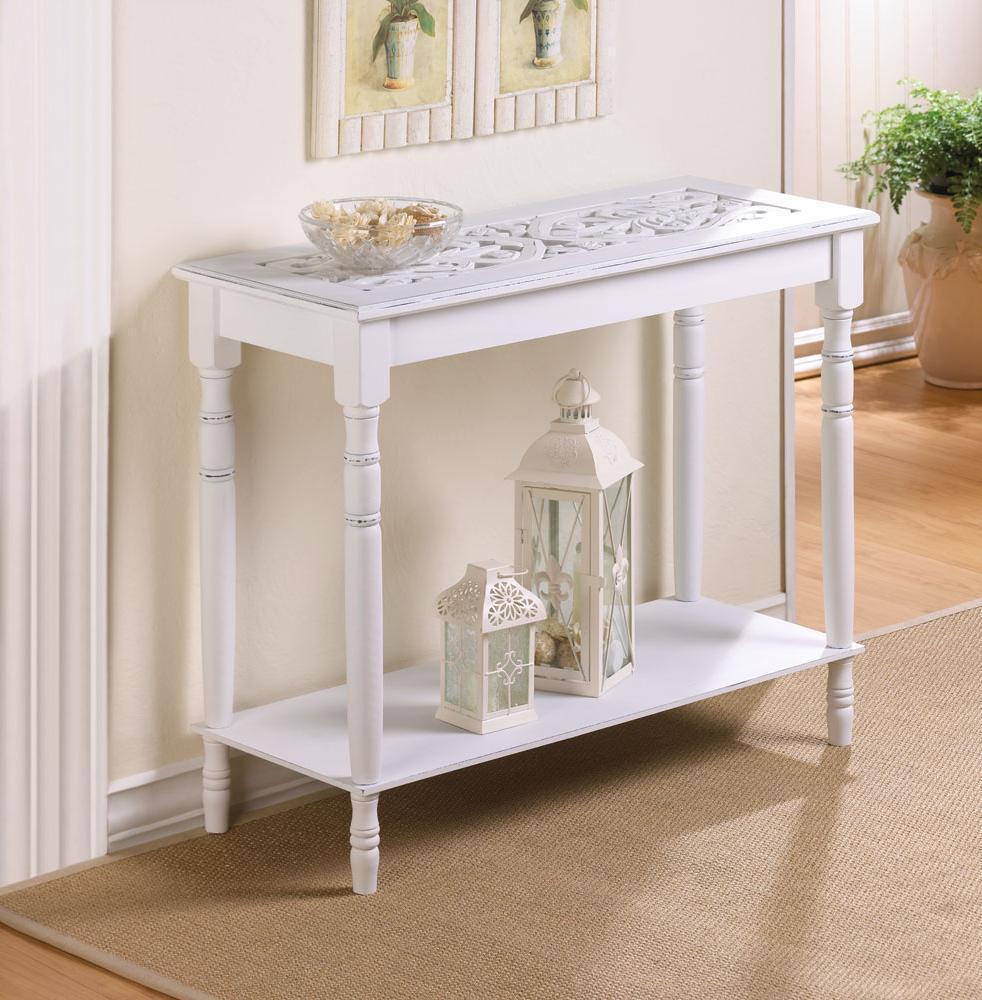 Best ideas about Distressed Entryway Table . Save or Pin TABLES Intricately Carved Top Distressed White Wood Sofa Now.