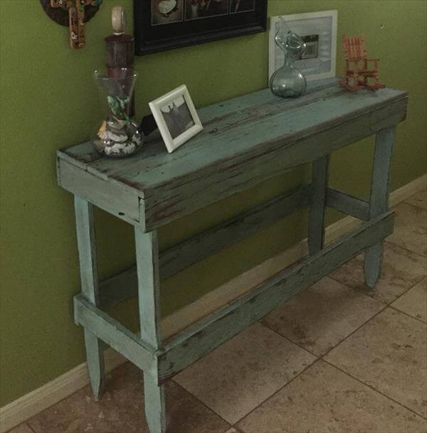 Best ideas about Distressed Entryway Table . Save or Pin DIY Pallet Distressed Entryway Table Now.