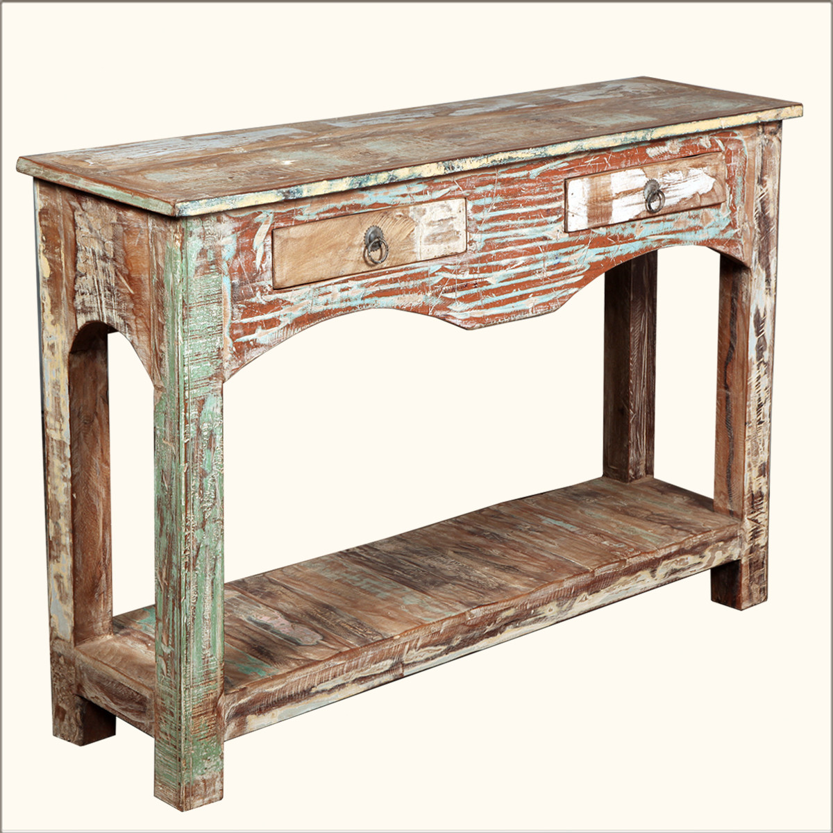 Best ideas about Distressed Entryway Table . Save or Pin Distressed Reclaimed Wood 2 Drawer Rustic Console Hall Now.