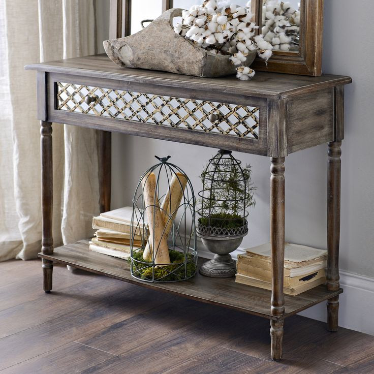 Best ideas about Distressed Entryway Table . Save or Pin Distressed Rustic Mirrored Console Table Now.