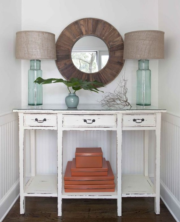 Best ideas about Distressed Entryway Table . Save or Pin Distressed Console Table Cottage entrance foyer Erin Now.