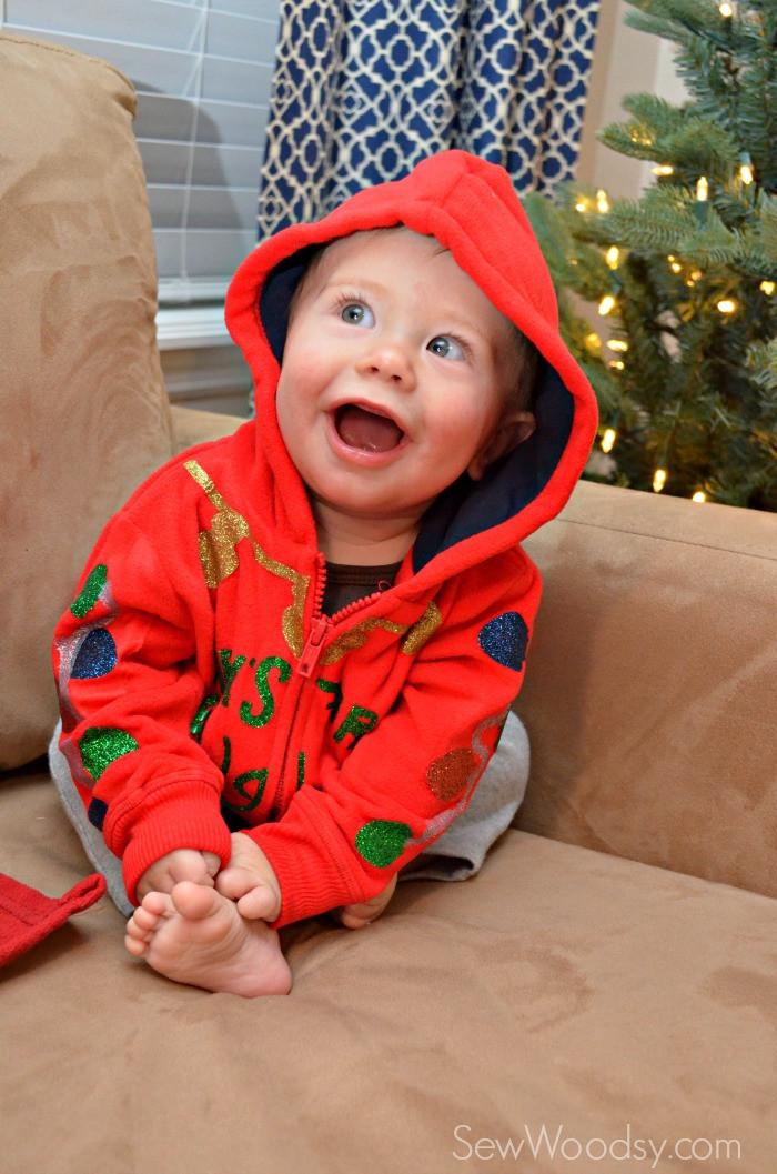 Best ideas about DIY Baby Christmas Pictures . Save or Pin DIY Baby s First Ugly Christmas Sweater Sew Woodsy Now.