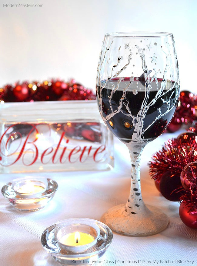 Best ideas about DIY Christmas Wine Glasses . Save or Pin Christmas DIY Birch Tree Wine Glass Now.